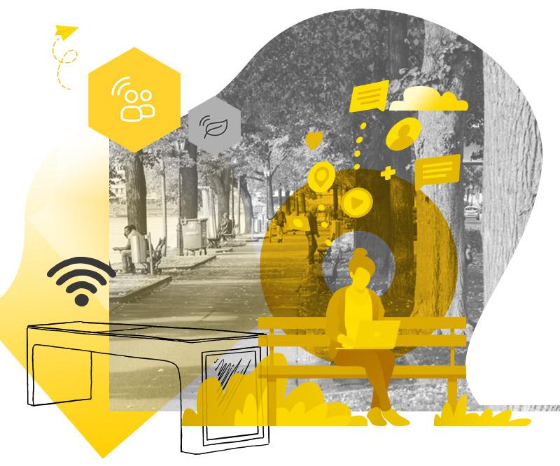 smart city avec mobilier urbain intelligent et banc solaire